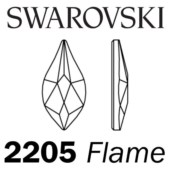 SWAROVSKI  Wholesale Rhinestone Flatback HOTFIX Flame 2205 Crystal Silver Night - Factory Pack