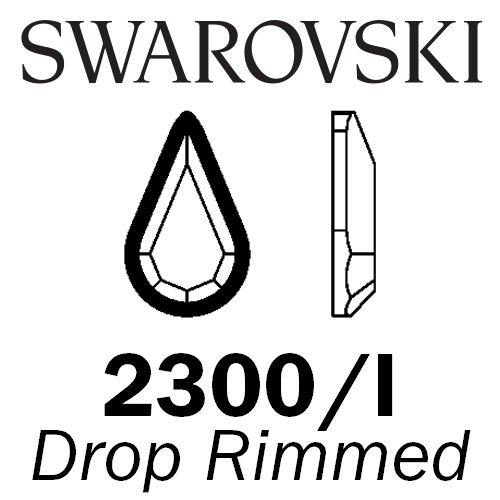 SWAROVSKI  Wholesale Rhinestone Flatback HOTFIX Rimmed Drop 2300I Jet with Dorado rim - Factory Pack