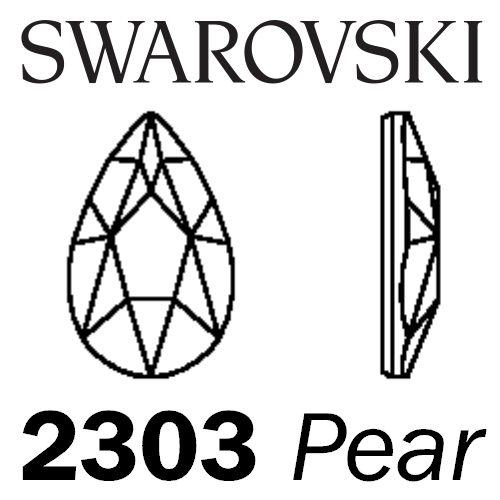 SWAROVSKI  Wholesale Rhinestone Flatback HOTFIX Pear 2303 Crystal Silver Shade - Factory Pack