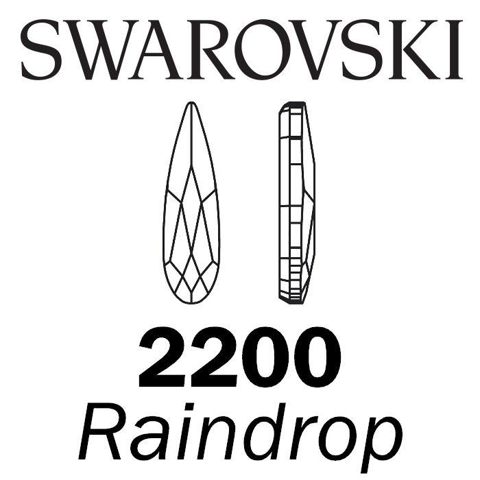 SWAROVSKI  Wholesale Rhinestone Flatback HOTFIX Raindrop 2304 Crystal Silver Night - Factory Pack