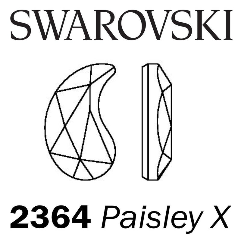 SWAROVSKI  Wholesale Rhinestone Flatback HOTFIX Paisley X 2364 Crystal Silver Night - Factory Pack