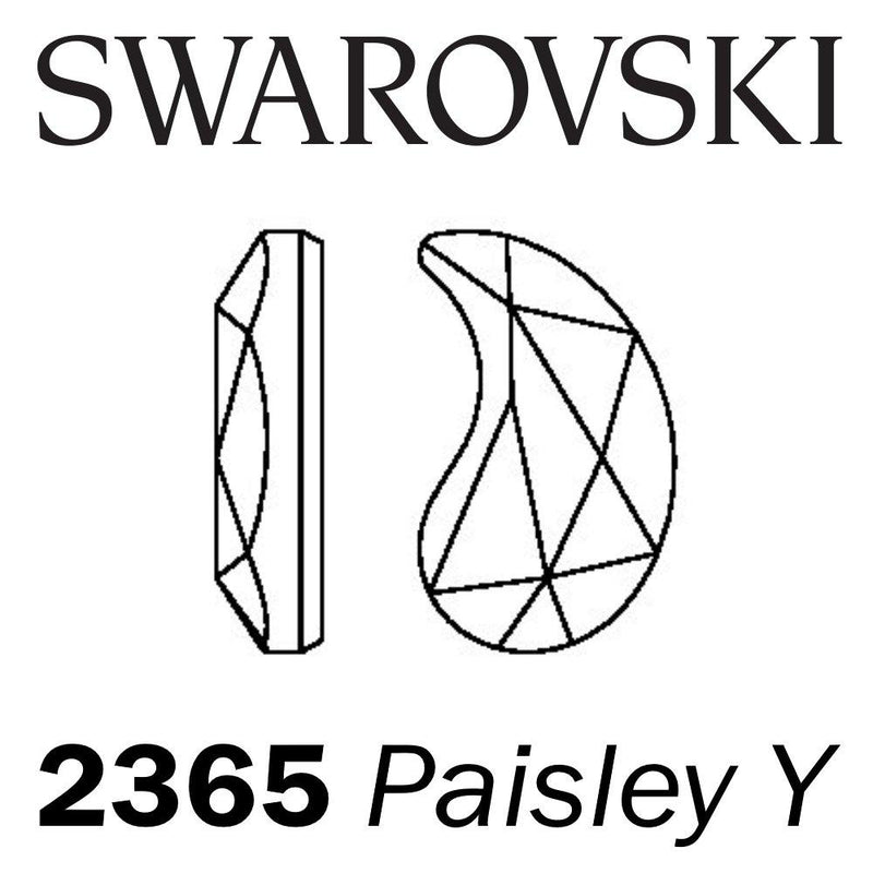SWAROVSKI  Wholesale Rhinestone Flatback HOTFIX Paisley Y 2365 Crystal Silver Night - Factory Pack