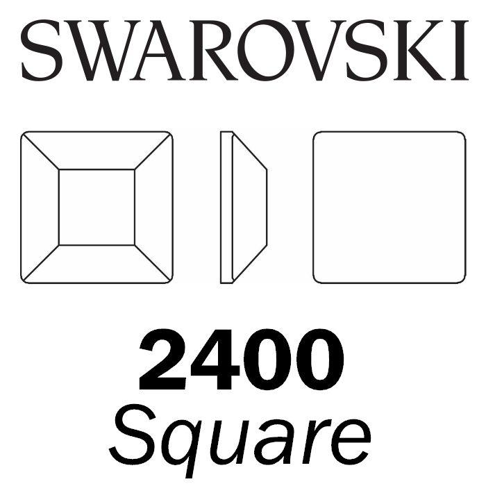SWAROVSKI  Wholesale Rhinestone Flatback HOTFIX Square 2400 Crystal Light Chrome - Factory Pack