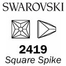 SWAROVSKI Wholesale Rhinestone Flatback NO HOTFIX Square Spike 2419 Crystal Blue Shade - Factory Pack