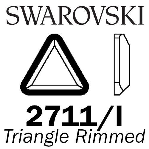 SWAROVSKI  Wholesale Rhinestone Flatback HOTFIX Rimmed Triangle 2711I Jet with Light Chrome rim - Factory Pack
