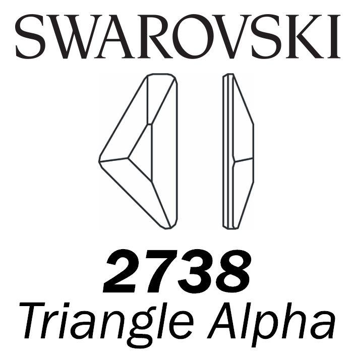 SWAROVSKI  Wholesale Rhinestone Flatback HOTFIX Triangle Alpha 2738 Crystal Silver Night - Factory Pack