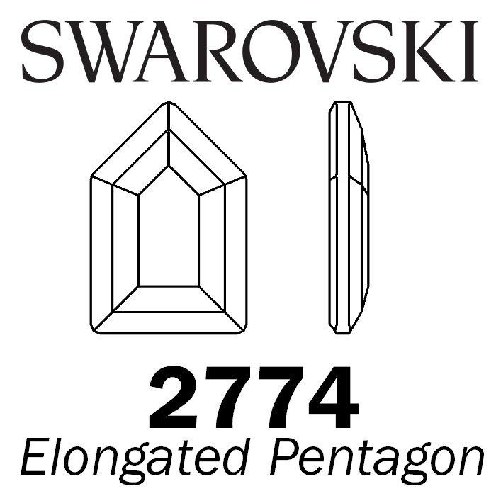 SWAROVSKI  Wholesale Rhinestone Flatback HOTFIX Elongated Pentagon  2774 Black Diamond - Factory Pack