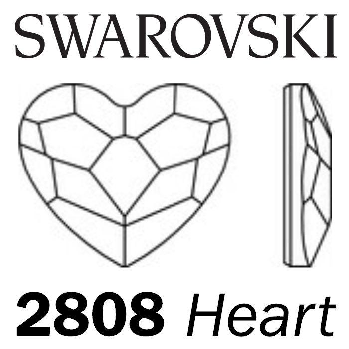 SWAROVSKI Wholesale Rhinestone Flatback NO HOTFIX Heart 2808 Light Siam - Factory Pack
