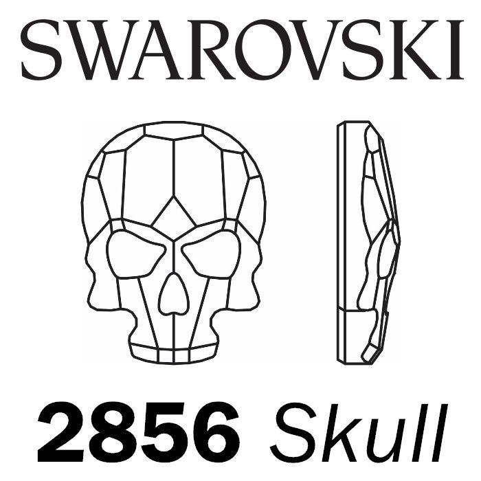 SWAROVSKI  Wholesale Rhinestone Flatback HOTFIX Skull 2856 Crystal Light Chrome - Factory Pack