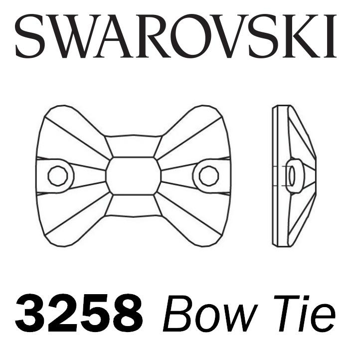 SWAROVSKI Wholesale Sew on Rhinestone - Bow Tie 3258 - Jet (Unfoiled) - Factory Pack