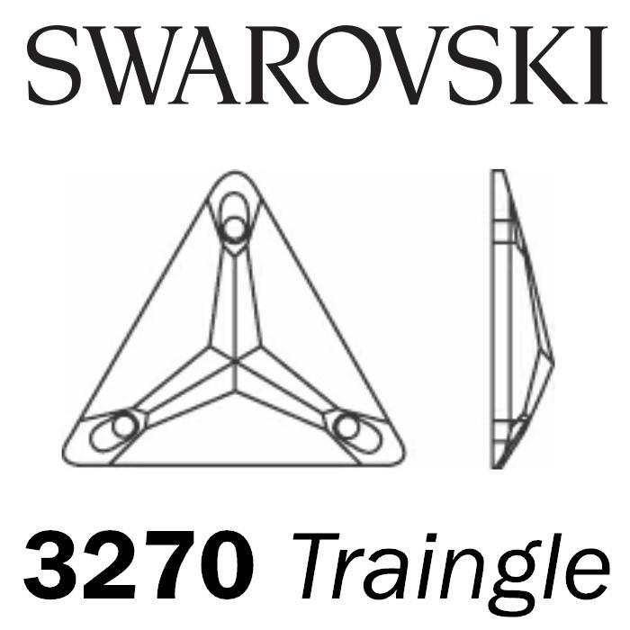 SWAROVSKI  Sew on Rhinestone - Triangle 3270 - Jet (Unfoiled)