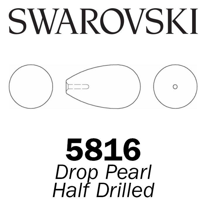 SWAROVSKI Wholesale Pearls 5816 Drop Half Drilled  - Crystal Light Grey Pearl - Factory Pack