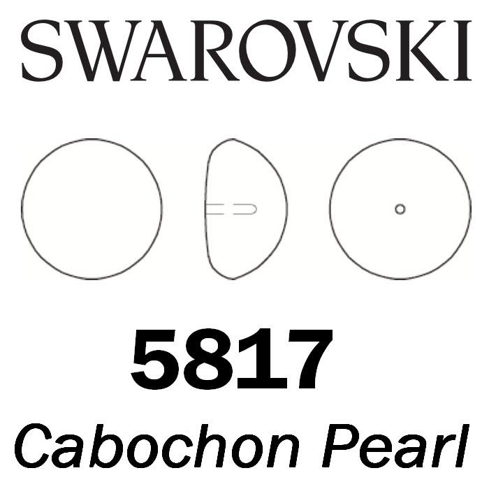 SWAROVSKI Wholesale Pearls 5817 Cabochon Half Drilled   - Crystal Light Grey Pearl - Factory Pack
