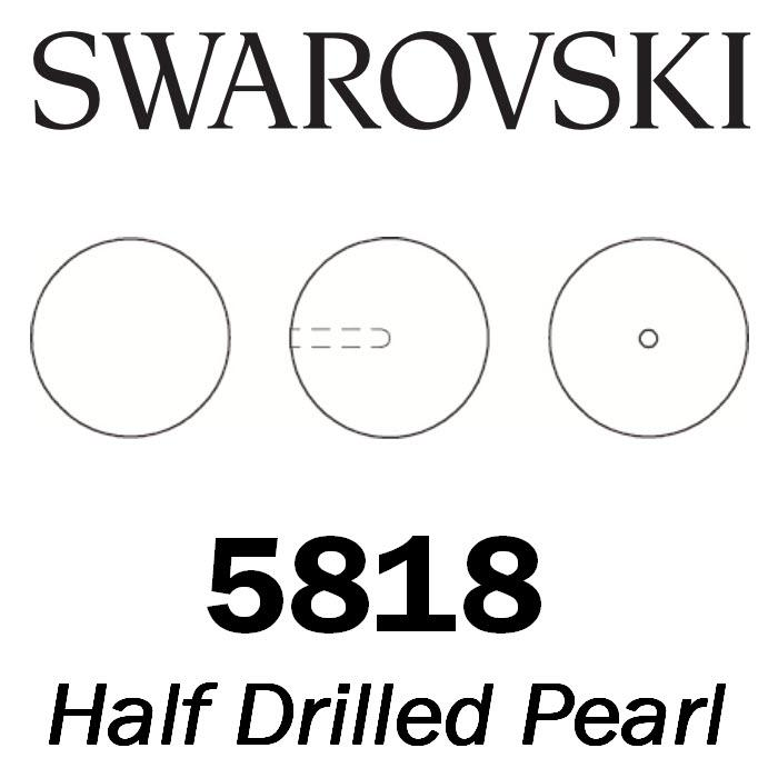 SWAROVSKI Wholesale Pearls 5818 Round Half-Drilled   - Crystal Elderberry Pearl - Factory Pack