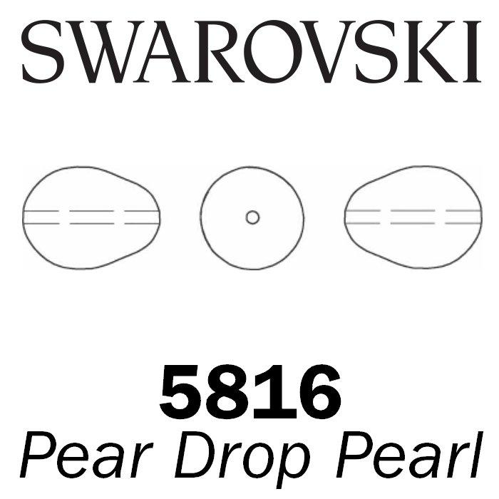 SWAROVSKI Wholesale Pearls 5821 Pear Drop  - Crystal Light Grey Pearl - Factory Pack
