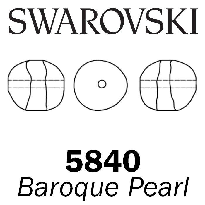 SWAROVSKI Wholesale Pearls 5840 Baroque  - Crystal White Pearl - Factory Pack