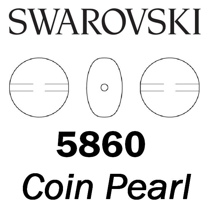 SWAROVSKI Wholesale Pearls 5860 Coin  - Crystal Scarabaeus Green Pearl - Factory Pack