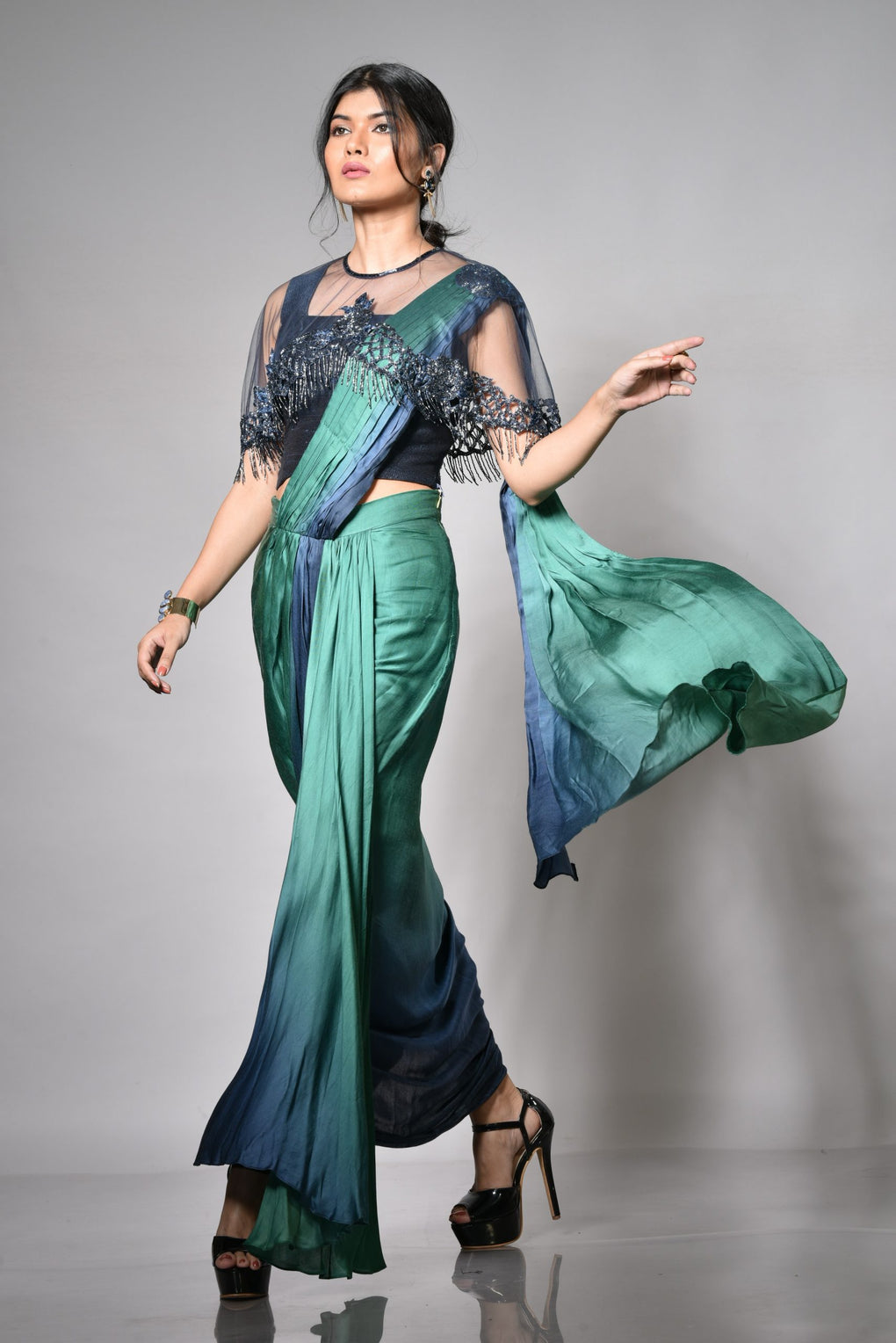 Shaded Drape Saree With Hand Embellished Net Cape By Label Olipriya Www Styletriggers Com