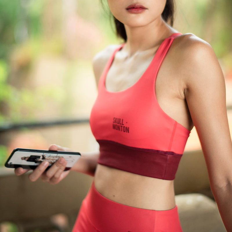 strappy padded sports bra