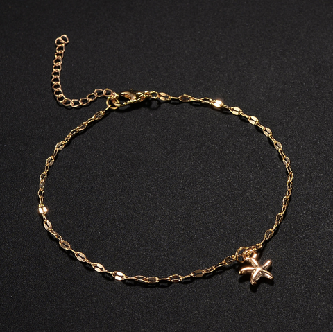 Sphynx Starfish Gold Anklets
