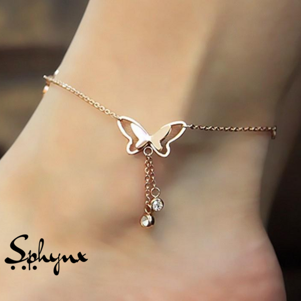 Sphynx Butterfly Anklets With Tassel Rhinestone