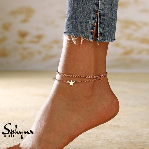 Sphynx Multi-layered Gold & Silver Star Anklets