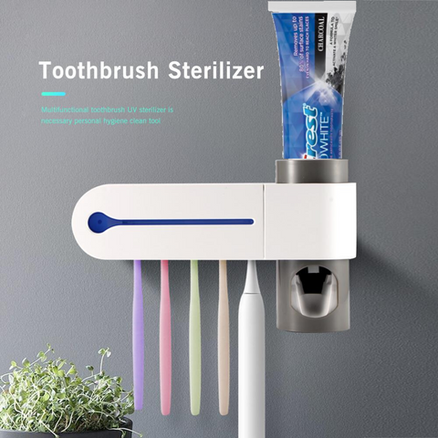 UV Antibacterial Automatic Toothbrush Sterilizer & Toothpaste Dispenser - Health Mob