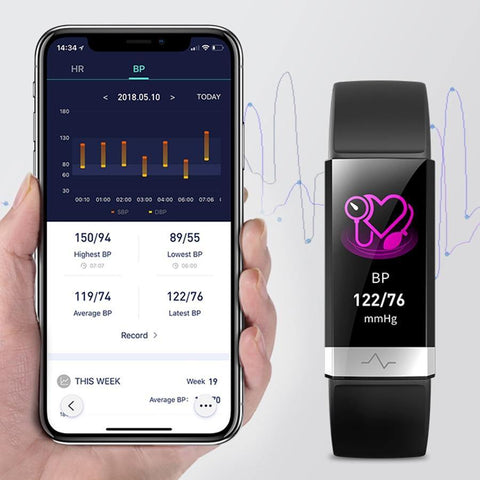 New Smart Watch Blood Pressure Heart Rate Monitor with Electrocardiogram Display - Health Mob