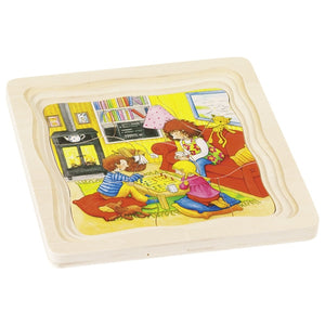 Day in Life Family Goki Wooden Layer Puzzle | Little Leaf Toy Shop Australia