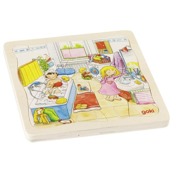 Day in Life Bathroom Goki Wooden Puzzle | Little Leaf Toy Shop Australia