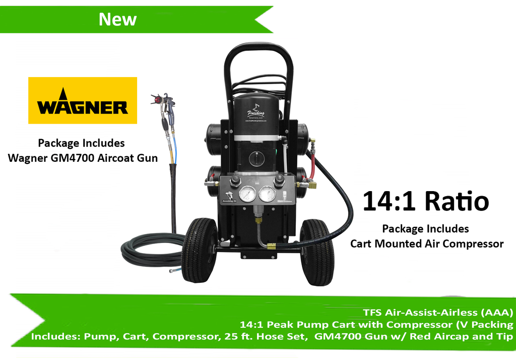 Tfs Label Air-Assist-Airless (Aaa) 14:1 Peak Pump Cart With Compressor (V Packing) W/ Gm4700 Gun