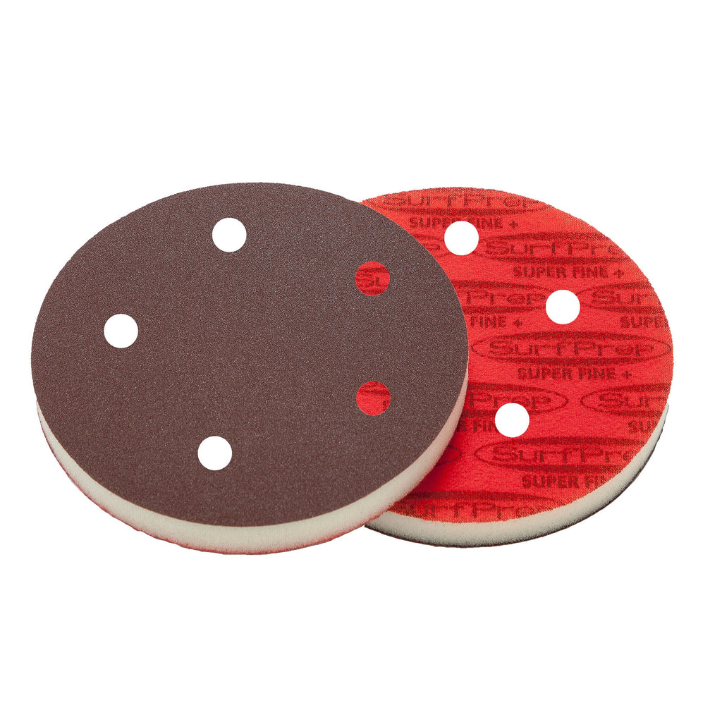 5 Surfprep Pads - 1/2 Thick (Premium Red A/o) Holes For Vacuum / Coarse (60-80 Scratch) Sanders