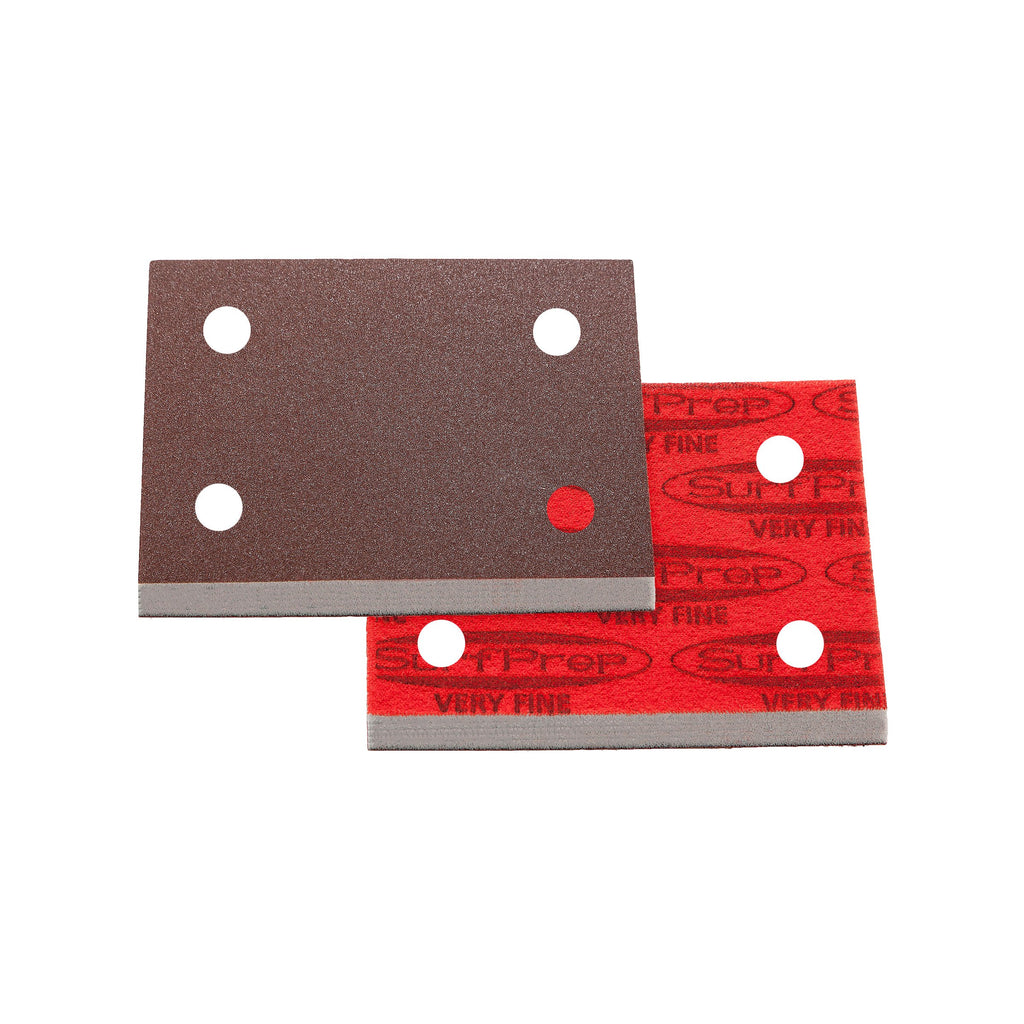 3 X 4 Surfprep Foam Pads - 10Mm Thick (Premium Red A/o) Holes For Vacuum / Coarse (60-80 Scratch)
