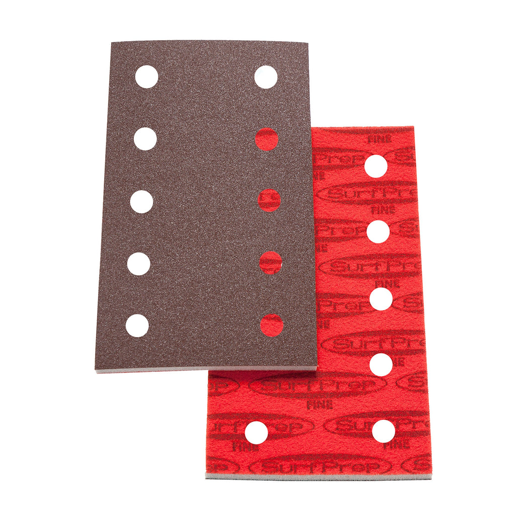3 2/3 X 7 Surfprep Foam Pads - 5Mm Thick (Premium Red A/o) 10 Holes For Vacuum / Coarse (60-80