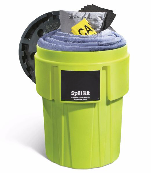Spill Kit In 95-Gallon High-Visibility Container Absorbs Up To 60 Gal. Oils Coolants Solvents Water
