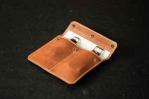 Buttoned Leather Watch Pouch