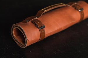 Large Leather Watch Roll- Tan
