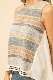 Mystree Pleating Back Striped Tank - Fruit of the Vine