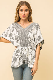 Mystree Tassel Sleeve Belted Blouse - Fruit of the Vine