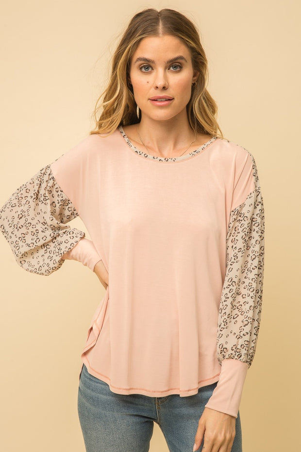 Mystree Mauve Mix Animal Sleeve Top