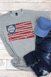 Vintage Baseball Flag Graphic Tee in Blue - Fruit of the Vine