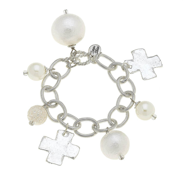 Silver Cross and Cotton Pearl Bracelet | Fruit of the Vine Boutique