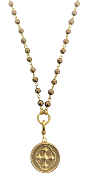 Rosary Style Beaded Necklace in Gold | Gracewear Collection | Fruit of the Vine Boutique