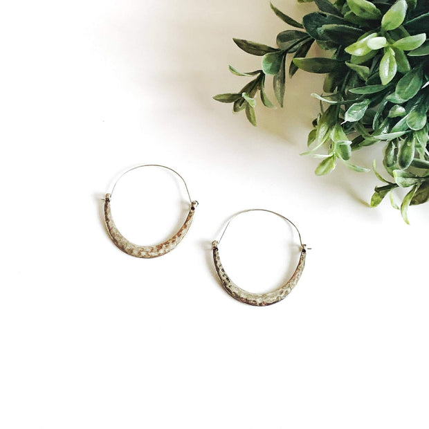 Silvertone Crescent Shape Delicate Earring | Fruit of the Vine Boutique