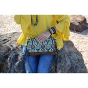 Hair on Hide Handbag with Turquoise Floral Flap and Leather Tassel - Fruit of the Vine