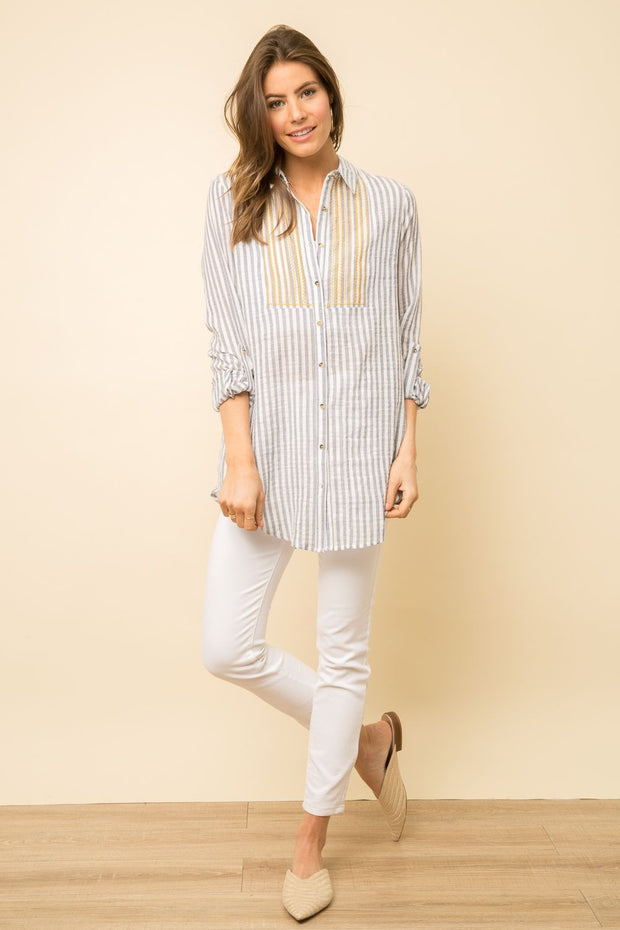 Mystree Embroidered Lace Button Up Tunic - Fruit of the Vine