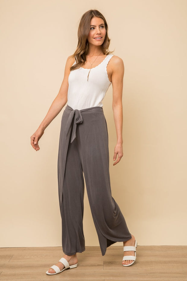 Mystree Sandwash Modal Wrap Culotte Pants - Fruit of the Vine