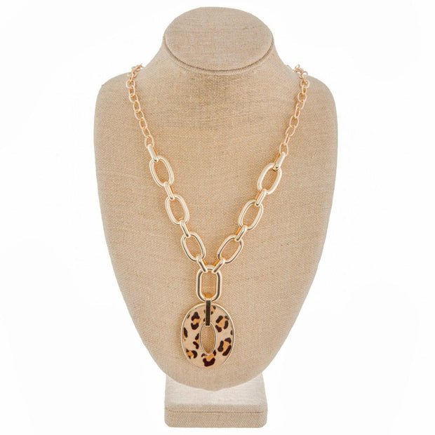 Gold Chunky Chain with Leopard Pendant