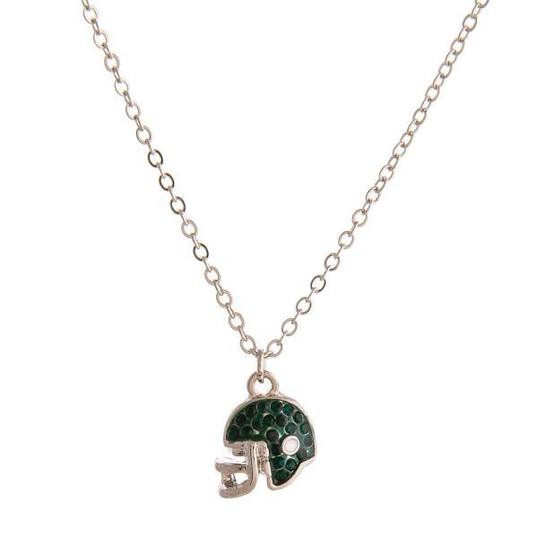 Green Football Helmet Necklace