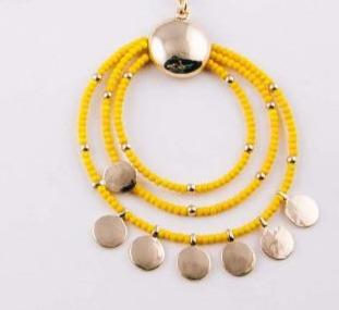 Long Dainty Chain Necklace with Yellow Seed Beaded Circle - Fruit of the Vine
